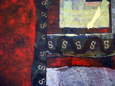 """Red"" painting detail by Alysse Stepanian"