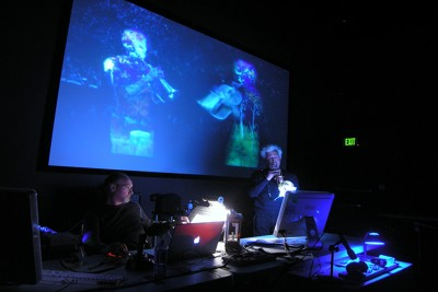 Video by Alysse Stepanian (2008) for a multimedia performance with computer, live trumpet and flugelhorn, and computer-interactive devices.