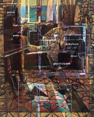 """Domestic Dreams 1991. 86.5""""x71"""" oil on canvas"""